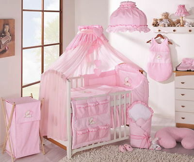 LUXURY 7 pcs BABY BEDDING SET TO FIT BABY COT or COTBED/ TEDDY BEAR / HEART