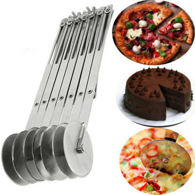 Pizza Multi Roller Wheel Cutter Slicer Blade Knife Pastry Handle Stainless Steel