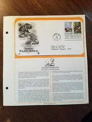 First Day of Issue - Wildlife Habitats, Mountain & Woods - Postmarked: 6/26/1981