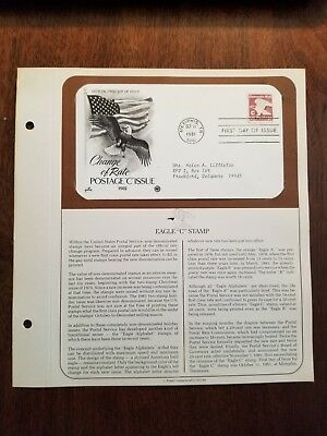 """First Day Issue - Change of Rate, Eagle """"C"""" Stamp - Postmarked: 10/11/1981"""