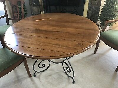 Ethan Allen Legacy Brittany Table Forged Base Plus leaf Exc