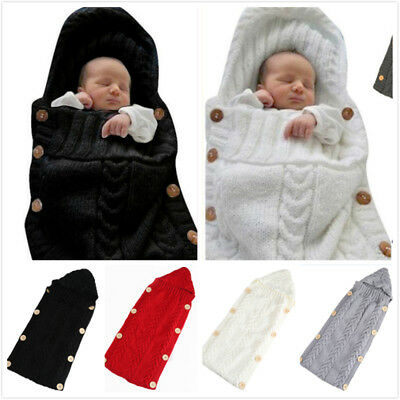 Newborn Baby Infant Winter Swaddle Wrap Knitted Sleeping Bag Blanket Sleepsacks