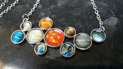 Solar System Planets Cosmology Astronomy Space Jewellery Necklace Silver 52cm