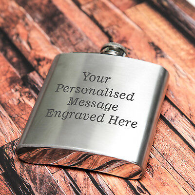 Personalised Engraved Stainless Steel 6oz Hip Flask - WOW!!