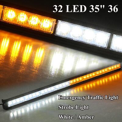"36"" 32 Amber LED Emergency Traffic Advisor Light Bar Flash Strobe Warm Warning"