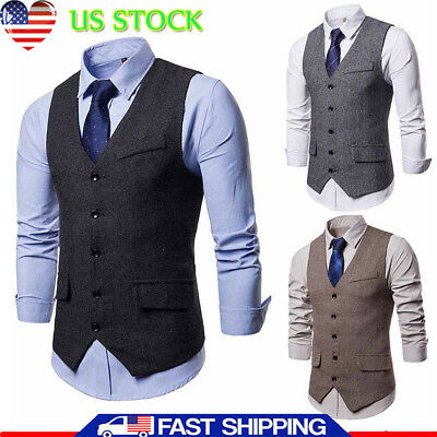 Men Herringbone Single-breasted Business Suit Vest Wedding Waistcoat Jacket Coat