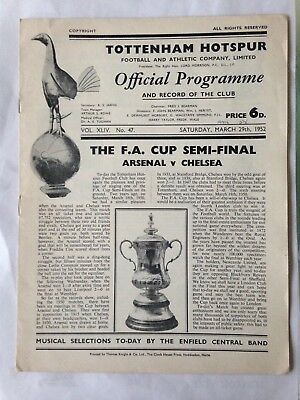 1952 Fa Cup Semi Final Arsenal V Chelsea With Insert