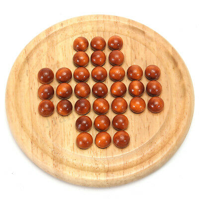 Wooden Solitaire Traditional Board Game Family Child Classic Educational Toy AU