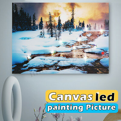 15'' Canvas LED Lighted Light-up Snow Art Painting Picture Print Home Wall