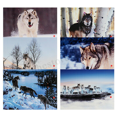 Winter Snow Wolf Canvas Wall Art LED LIGHTS Painting Print Picture 40x30cm