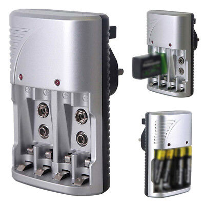 Channel Plug Multi Rechargeable For AA,AAA,9V Mains 3 Ni-mh Battery 4ch Charger~