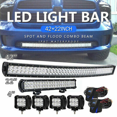 "42Inch LED Light Bar Combo+ 22in +4"" 18W PODS OFFROAD SUV 4WD ATV FOR FORD"