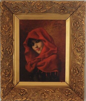 Superb ITALIAN Portrait of Woman in Red Shawl Oil Painting. Signed, dated 1901