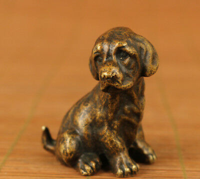 delicate chinese Old bronze hand carving Fortune dog lovely gift statue