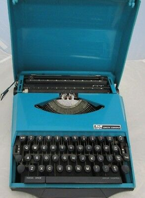 Vintage 1970s Smith-Corona GT Typewriter In Teal / Turquoise Colour + Case Cover