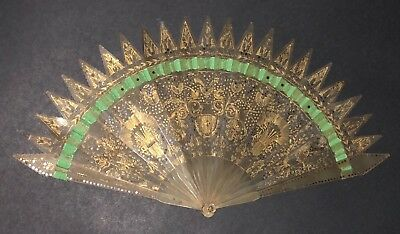 Rare & Fine Antique French Carved Gold Gild Horn Gothic Style Brise Fan