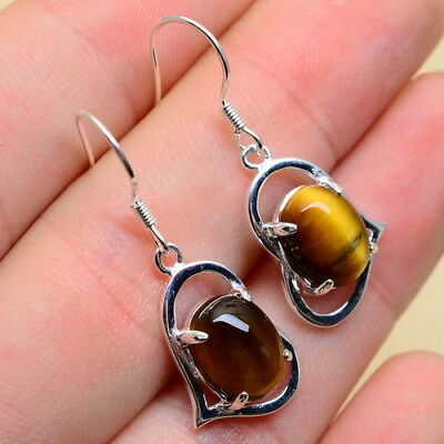 "1 1/4"" Natural Tiger's Eye 100% Solid 925 Sterling Silver Love Heart Earrings"