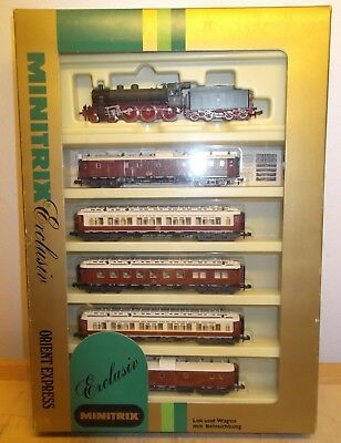 "Minitrix N 51 1017 00 Zug - Set "" Orient Express "" Complete Illuminated Tested"
