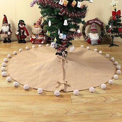 PartyTalk Natural Burlap Christmas Tree Skirt 48 Inch Large Pom Pom Trim Jute Xm