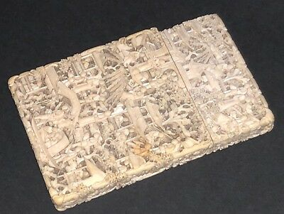 Fine Quality Antique Chinese Deep Carved Figural Scene Pagoda Card Case Box