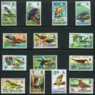 GRENADINES of ST VINCENT 1974 Birds. 14 Values. No 25c. SG 3-17. MLH. (AR625)