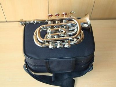 SUPER DEAL!!! BRAND NEW SILVER Bb POCKET TRUMPET+FREE HARD CASE+MOUTHPIECE