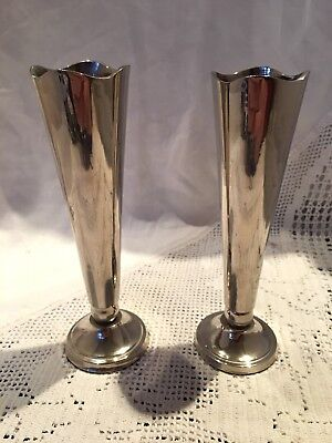 Pair Of Vintage Good Quality Heavy Silver Plated Crocus Style Vases Velvet Base