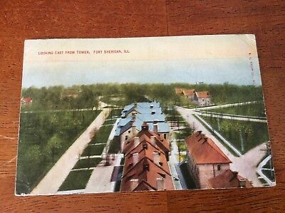 Postcard Fort Sheridan, Illinois. Looking East from Tower. Posted