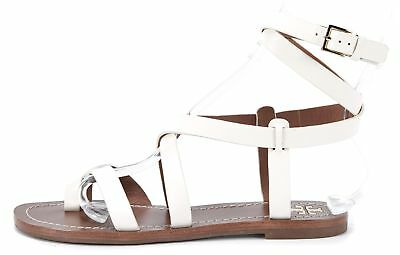 87f8b618e0d4 TORY BURCH Patos Ivory Leather Wrap Around Gladiator Flat Sandals Size 8