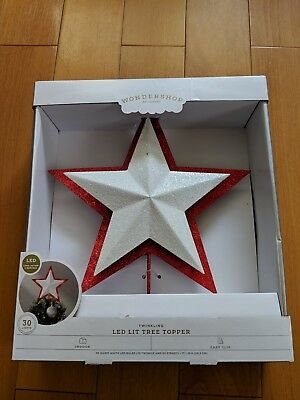 NEW Christmas Lighted Star Tree Topper Red White Twinkling LED Lit    Wondershop