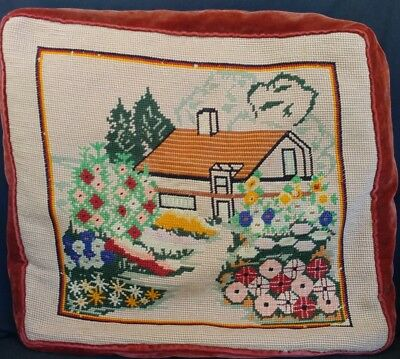 """Floral Needlepoint Pillow Country Cottage Shabby Chic Feather 15 1/2""""x14"""" Vtg"""