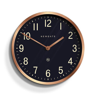 Round Rose Gold Copper Wall Clock Modern Big Numbers Kitchen Home Metal 30cm