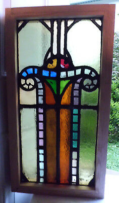 Antique Church Stained Glass Window Architectural Salvage Colorful Scroll W24