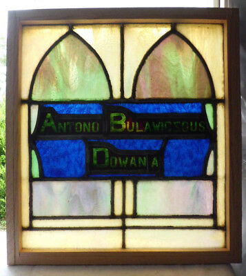 Antique Church Stained Glass Window Architectural Salvage Gothic Arch W8