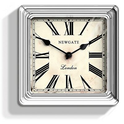 NEWGATE CLOCKS Croupiers Square Silver Kitchen Living Room Analogue Wall Clock