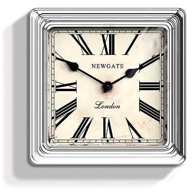 NEWGATE CLOCKS Large Square Silver Metal dining Room Roman Analogue Wall Clock