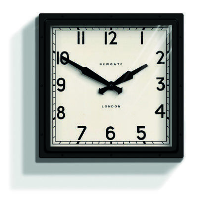 NEWGATE CLOCKS Extra Large Black Square Metal Modern London Wall Clock 40cm