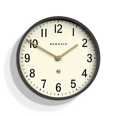 NEWGATE CLOCKS Mr Edwards Round Modern Grey Gold Kitchen Analogue Wall Clock