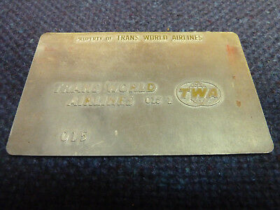 TWA Trans World Airlines 015 TRAVEL AGENT AIRLINE TICKET VALIDATION PLATE