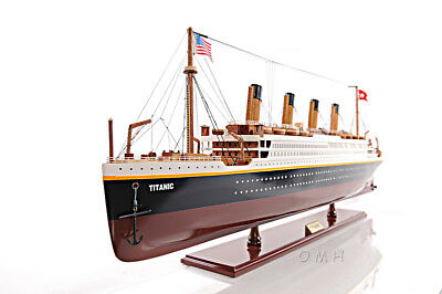 "RMS Titanic Ocean Liner Wooden Model 25"" White Star Line Cruise Ship New"