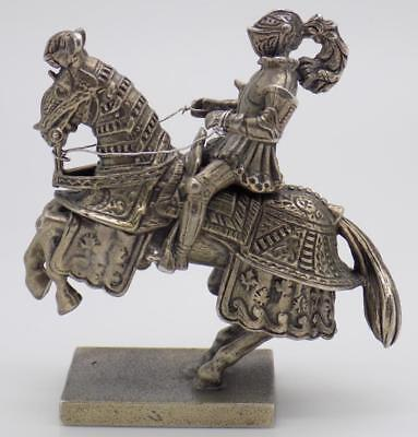 166g/5.82oz. Vintage Solid Silver Italian Made UNOAERRE Knight Statue, Stamped