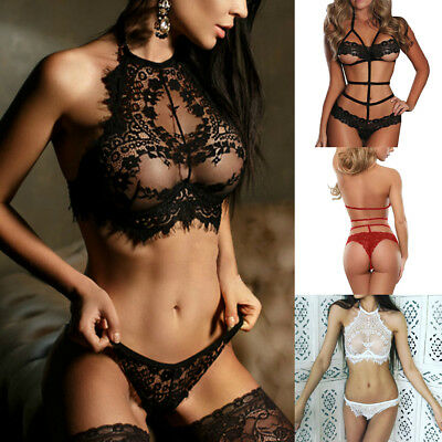 Womens Sexy Lingerie Babydoll Lace Nightwear G-string Sleepwear Intimate Plus D