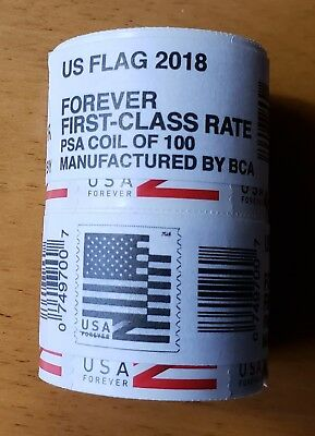 2 Coils Of 100 Stamps USPS US Flag 2018 USA First Class Forever - 200 Stamps!