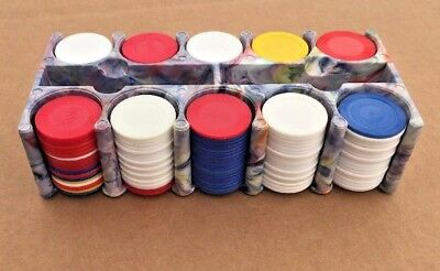 Vintage...Retro Poker Chip Holder Bakelite? Gray with Blue, Red Swirls..W/ Chips