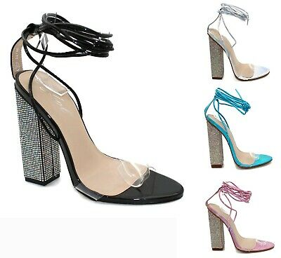 Women Ladies Ankle Strap Lace Up Diamante Block High Heel Perspex Party Sandals