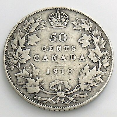1918 Fifty 50 Cent Canada Half Dollar George V Circulated Canadian Coin H874