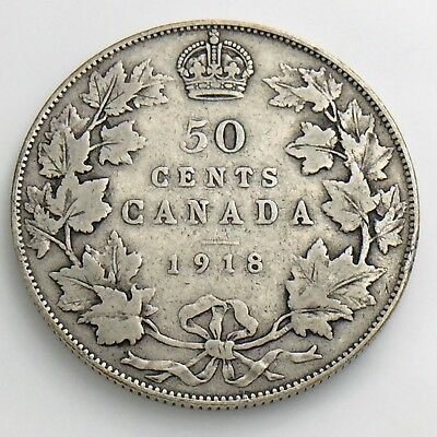 1918 Fifty 50 Cent Canada Half Dollar George V Circulated Canadian Coin H875