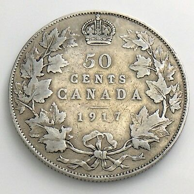 1917 Fifty 50 Cent Canada Half Dollar George V Circulated Canadian Coin H876