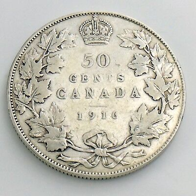 1916 Fifty 50 Cent Canada Half Dollar George V Circulated Cleaned Coin H877