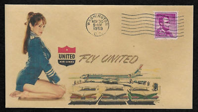 1950s United Airlines & Pin Up Girl Featured on Collector's Envelope *OP417